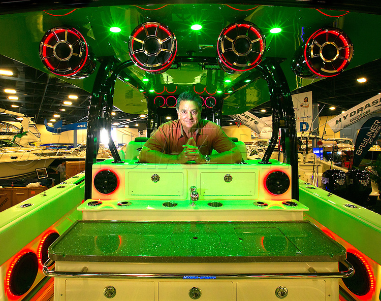Alex Leva, president of HydroSports Custom on the Custom 42 at the Progressive Miami International Boat Show.
