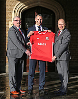 (L-R) FAW President David Griffiths, Ryan Giggs and Jonathan Ford, hold a Wales shirt during the Wales Unveiling  Of The New Manager at Hensol Castle, Vale of Glamorgan, Wales, UK. Monday 15 January 2018