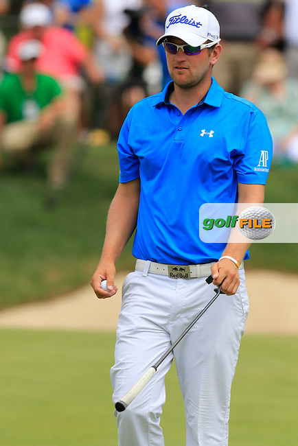 Bernd WIESBERGER (AUT) sinks his birdie putt on the 7th green during Sunday's Final Round of the 2015 Bridgestone Invitational World Golf Championship held at the Firestone Country Club, Akron, Ohio, United States of America. 9/08/2015.<br /> Picture Eoin Clarke, www.golffile.ie
