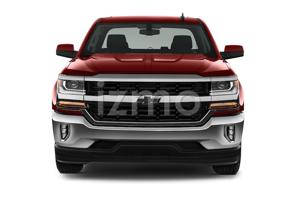 Car photography straight front view of a 2018 Chevrolet Silverado-1500 LT-Double-Cab-Std-Box 4 Door Pick-up Front View