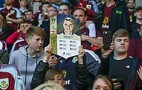A Burnley fan holds up a tribute to departing player Dean Marney<br /> <br /> Photographer Alex Dodd/CameraSport<br /> <br /> The Premier League - Burnley v Bournemouth - Sunday 13th May 2018 - Turf Moor - Burnley<br /> <br /> World Copyright &copy; 2018 CameraSport. All rights reserved. 43 Linden Ave. Countesthorpe. Leicester. England. LE8 5PG - Tel: +44 (0) 116 277 4147 - admin@camerasport.com - www.camerasport.com