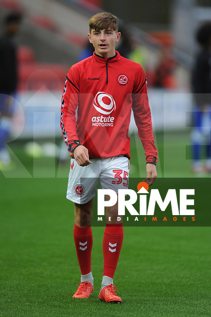Ryan Rydel of Fleetwood Town during the The Checkatrade Trophy match between Fleetwood Town and Leicester City at Highbury Stadium, Fleetwood, England on 11 September 2018. Photo by Greig Bertram/PRiME Media Images.