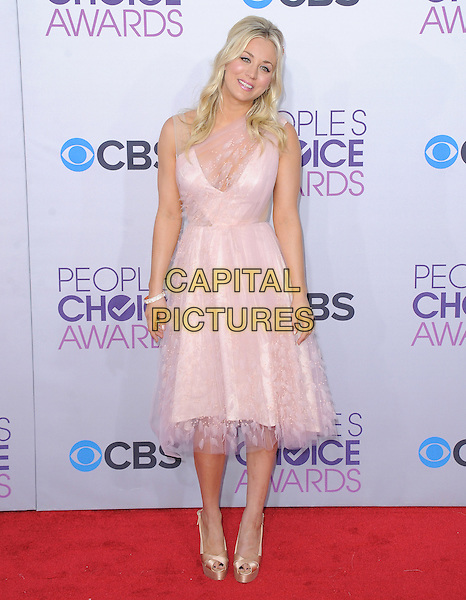 Kaley Cuoco.The 2013 People's Choice Awards held at Nokia Live in Los Angeles, California 9th January 2013                                                                   .full length dress pink sheer lace .CAP/DVS.©DVS/Capital Pictures.