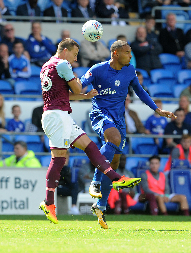 Aston Villa's John Terry and Cardiff City's Kenneth Zohore challenge for the header <br /> <br /> Photographer Ian Cook/CameraSport<br /> <br /> The EFL Sky Bet Championship - Cardiff City v Aston Villa - Saturday August 12th 2017 - Cardiff City Stadium - Cardiff<br /> <br /> World Copyright &copy; 2017 CameraSport. All rights reserved. 43 Linden Ave. Countesthorpe. Leicester. England. LE8 5PG - Tel: +44 (0) 116 277 4147 - admin@camerasport.com - www.camerasport.com