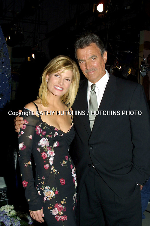 "©2003 KATHY HUTCHINS / HUTCHINS PHOTO.YOUNG AND THE RESTLESS SET.LOS ANGELES, CA.SEPTEMBER 3, 2003..DAYNA DEVON (HOSTESS OF ""EXTRA""), GUESTING ON SHOW.ERIC BRAEDEN"