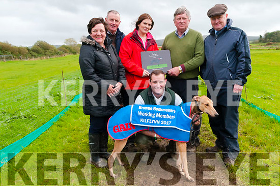 Kilflynn Coursing: Grainne Herbert presenting the trophy to Gerry O'Sullivan Abbeyfeale  owner of Boomtown Fabo winner of the Berkie Browne Bookmakers Working Members Duffer stake at Kilflynn coursing on Sunday last. L-R : Angeline & Jim O'Donnell, Grainne Herbert, Gerry O'Sullivan & DJ Histon ICC.