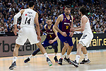 (L-R) Real Madrid's Gustavo Ayon, Barcelona's Pau Ribas, Barcelona's Pierre Oriola and Real Madrid's Sergio Llull during Liga Endesa match between Real Madrid and FC Barcelona Lassa at Wizink Center in Madrid, Spain. March 24, 2019.  (ALTERPHOTOS/Alconada)