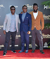 LOS ANGELES, CA. April 4, 2016. Actor David Oyelowo &amp; brothers Sam &amp; Emmanuel at the world premiere of &quot;The Jungle Book&quot; at the El Capitan Theatre, Hollywood.<br /> Picture: Paul Smith / Featureflash