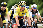 The peloton including race leader Yellow Jersey Greg Van Avermaet (BEL) BMC Racing Team in action during Stage 7 of the 2018 Tour de France running 231km from Fougeres to Chartres, France. 13th July 2018. <br /> Picture: ASO/Pauline Ballet | Cyclefile<br /> All photos usage must carry mandatory copyright credit (&copy; Cyclefile | ASO/Pauline Ballet)