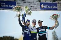 Race winner Matthew Hayman (AUS/Orica-GreenEDGE) on the podium in the Roubaix velodrome, with 2nd Tom Boonen (BEL/Etixx-QuickStep) & 3rd Ian Stannard (GBR/Sky)<br /> <br /> <br /> 114th Paris-Roubaix 2016