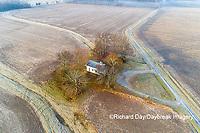 63895-16620 Pleasant Grove Methodist Church at sunrise in fog-aerial-Marion Co. IL
