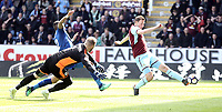 Burnley's Chris Wood scores the opening goal past Leicester City's Kasper Schmeichel<br /> <br /> Photographer Rich Linley/CameraSport<br /> <br /> The Premier League - Burnley v Leicester City - Saturday 14th April 2018 - Turf Moor - Burnley<br /> <br /> World Copyright &copy; 2018 CameraSport. All rights reserved. 43 Linden Ave. Countesthorpe. Leicester. England. LE8 5PG - Tel: +44 (0) 116 277 4147 - admin@camerasport.com - www.camerasport.com
