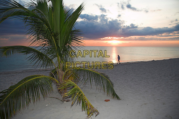 Man walking along beach at sunset, Trinidad, Sancti Spiritus Province, Cuba