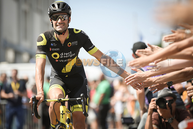 Fabien Grellier (FRA) Direct Energie arrives at sign on before the start of Stage 6 of the 2018 Tour de France running 181km from Brest to Mur-de-Bretagne Guerledan, France. 12th July 2018. <br /> Picture: ASO/Pauline Ballet | Cyclefile<br /> All photos usage must carry mandatory copyright credit (© Cyclefile | ASO/Pauline Ballet)