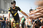 Fabien Grellier (FRA) Direct Energie arrives at sign on before the start of Stage 6 of the 2018 Tour de France running 181km from Brest to Mur-de-Bretagne Guerledan, France. 12th July 2018. <br /> Picture: ASO/Pauline Ballet | Cyclefile<br /> All photos usage must carry mandatory copyright credit (&copy; Cyclefile | ASO/Pauline Ballet)