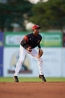 Batavia Muckdogs shortstop Demetrius Sims (55) during a game against the Mahoning Valley Scrappers on August 30, 2017 at Dwyer Stadium in Batavia, New York.  Batavia defeated Mahoning Valley 5-1.  (Mike Janes/Four Seam Images)