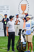 Adam Scott (AUS) has some fun with the International Team crowd during round 2 Four-Ball of the 2017 President's Cup, Liberty National Golf Club, Jersey City, New Jersey, USA. 9/29/2017.<br /> Picture: Golffile | Ken Murray<br /> <br /> All photo usage must carry mandatory copyright credit (&copy; Golffile | Ken Murray)