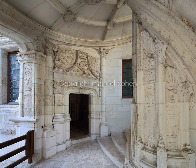 Ground floor entrance to the monumental spiral staircase, with salamander and crown relief above the doorway, 16th century, French School, on the interior South East facade of the Francois I wing, in Renaissance style, at the Chateau Royal de Blois, built 13th - 17th century in Blois in the Loire Valley, Loir-et-Cher, Centre, France. The staircase is covered in bas-relief sculptures and looks onto the courtyard of the chateau. The chateau has 564 rooms and 75 staircases and is listed as a historic monument and UNESCO World Heritage Site. Picture by Manuel Cohen