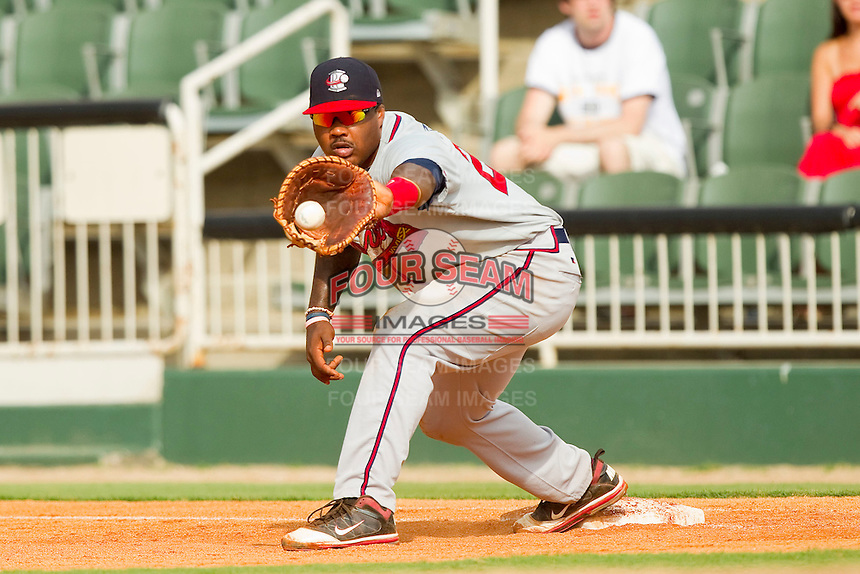 Rome Braves first baseman William Beckwith #23 stretches for a throw during the South Atlantic League game against the Kannapolis Intimidators at CMC-Northeast Stadium on August 5, 2012 in Kannapolis, North Carolina.  The Intimidators defeated the Braves 9-1.  (Brian Westerholt/Four Seam Images)