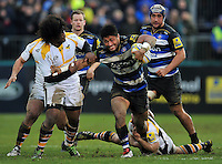 Amanaki Mafi of Bath Rugby takes on the Wasps defence. Aviva Premiership match, between Bath Rugby and Wasps on February 20, 2016 at the Recreation Ground in Bath, England. Photo by: Patrick Khachfe / Onside Images