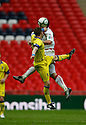 Robin Hulbert of Barrow and Michael Bostwick of Stevenage Borough challenge for a header during the  FA Trophy Final between Barrow and Stevenage Borough at Wembley Stadium, London on 8th May,2010..© Kevin Coleman 2010.
