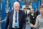 © Joel Goodman - 07973 332324 . 04/10/2016 . Birmingham , UK . DAMIAN GREEN crosses the bridge from the hotel to the conference venue during the third day of the Conservative Party Conference at the International Convention Centre in Birmingham . Photo credit : Joel Goodman