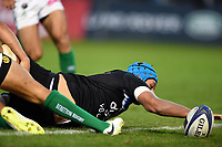 Zach Mercer of Bath Rugby scores a first half try. European Rugby Champions Cup match, between Bath Rugby and Benetton Rugby on October 14, 2017 at the Recreation Ground in Bath, England. Photo by: Patrick Khachfe / Onside Images