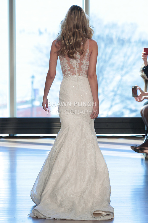 "Model Heather walks runway in a ""Joni"" bridal gown from the Rivini Spring Summer 2017 bridal collection by Rita Vinieris at The Standard Highline Room, during New York Bridal Fashion Week on April 15, 2016."