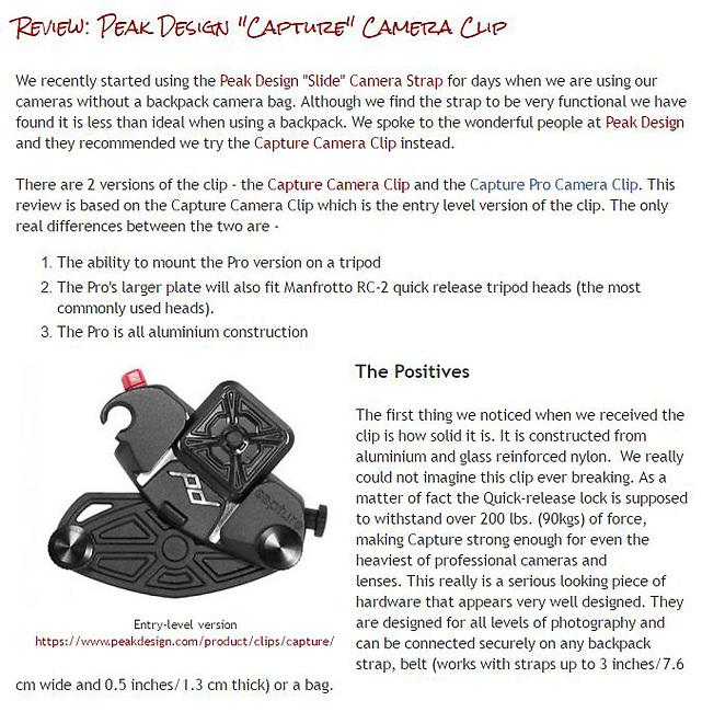 Review: Peak Design &quot;Capture&quot; Camera Clip<br /> <br /> http://widescenes.blogspot.com.au/