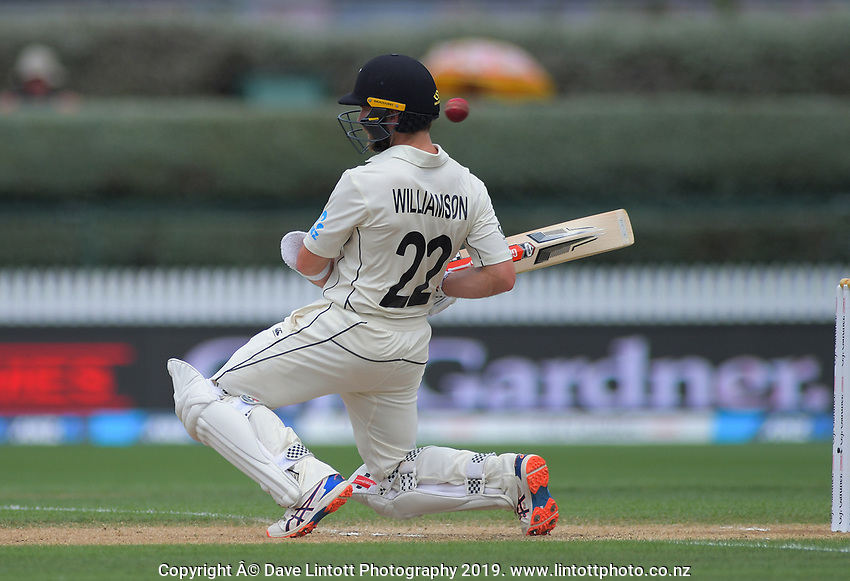 NZ captain Kane Williamson dodges a bouncer during day five of the international cricket 2nd test match between NZ Black Caps and England at Seddon Park in Hamilton, New Zealand on Tuesday, 3 December 2019. Photo: Dave Lintott / lintottphoto.co.nz