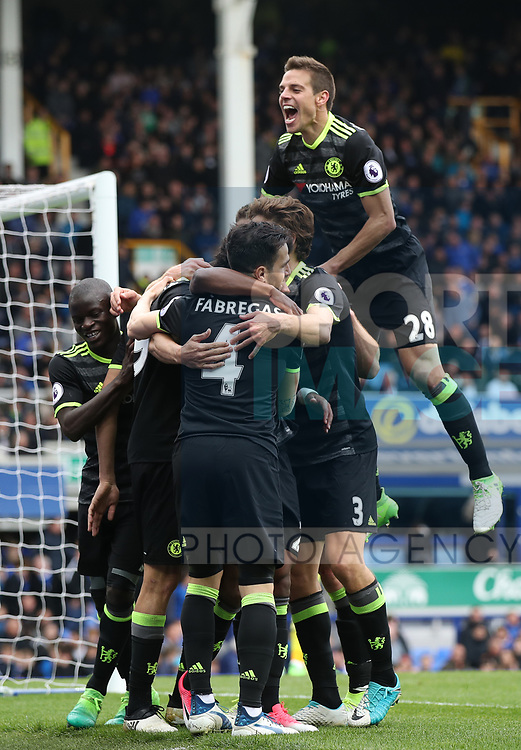 Willian of Chelsea celebrates scoring during the English Premier League match at Goodison Park , Liverpool. Picture date: April 30th, 2017. Photo credit should read: Lynne Cameron/Sportimage