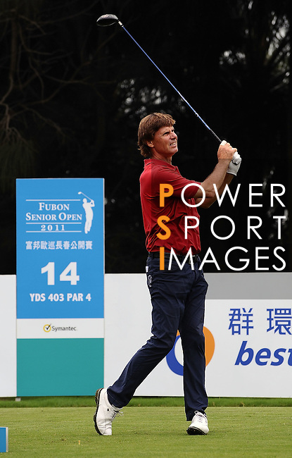 TAIPEI, TAIWAN - NOVEMBER 18:  Anders Forsbrand of Sweden tees off on the 14th hole during day one of the Fubon Senior Open at Miramar Golf & Country Club on November 18, 2011 in Taipei, Taiwan.  Photo by Victor Fraile / The Power of Sport Images