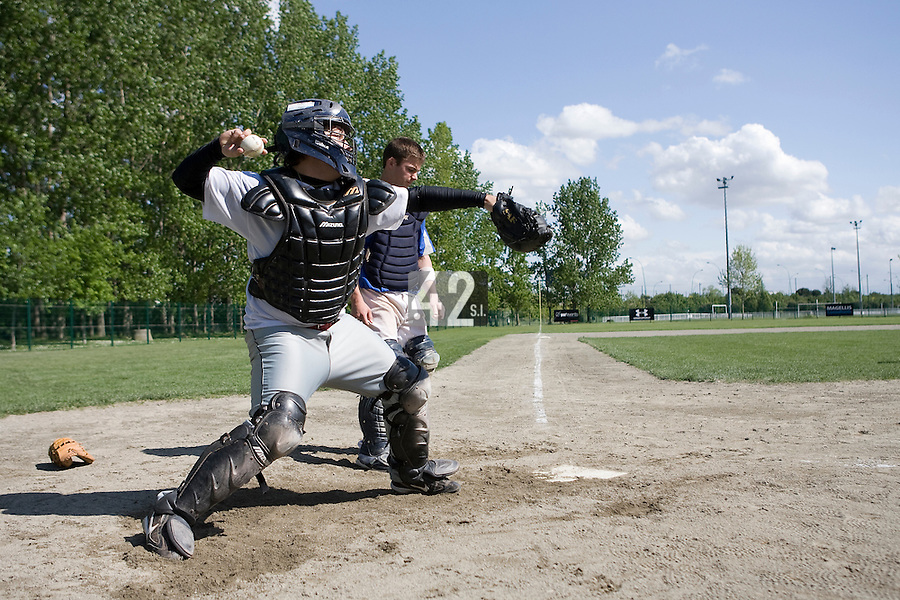 30 April 2008: David Albado of Spain takes catcher practice during the first of seven 2008 MLB European Academy Try-out Sessions throughout Europe, at Stade Kandy Nelson Ball Park, in Toulouse, France. Try-out sessions are run by members of the Major League Baseball Scouting Bureau with assistance from MLBI staff.