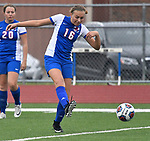Roxana forward Emma Lucas (16) takes a shot on goal in the second half. At left, watching is teammate Delaney Tyler. Roxana High School played a girls soccer game at Freeburg High School on Thursday May 3, 2018. Tim Vizer | Special to STLhighschoolsports.com