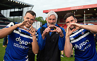 Zach Mercer, Todd Blackadder and Elliott Stooke of Bath Rugby pose for a photo after the match. Gallagher Premiership match, between Leicester Tigers and Bath Rugby on May 18, 2019 at Welford Road in Leicester, England. Photo by: Patrick Khachfe / Onside Images