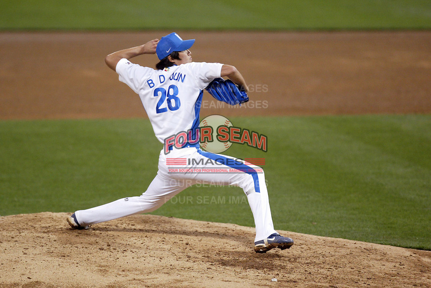 Byung-Doo Jun of Korea during the World Baseball Championships at Petco Park in San Diego,California on March 15, 2006. Photo by Larry Goren/Four Seam Images