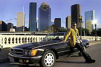 With my Mercedes 500SL on the Sabine Street bridge in Houston, Texas in 2004.