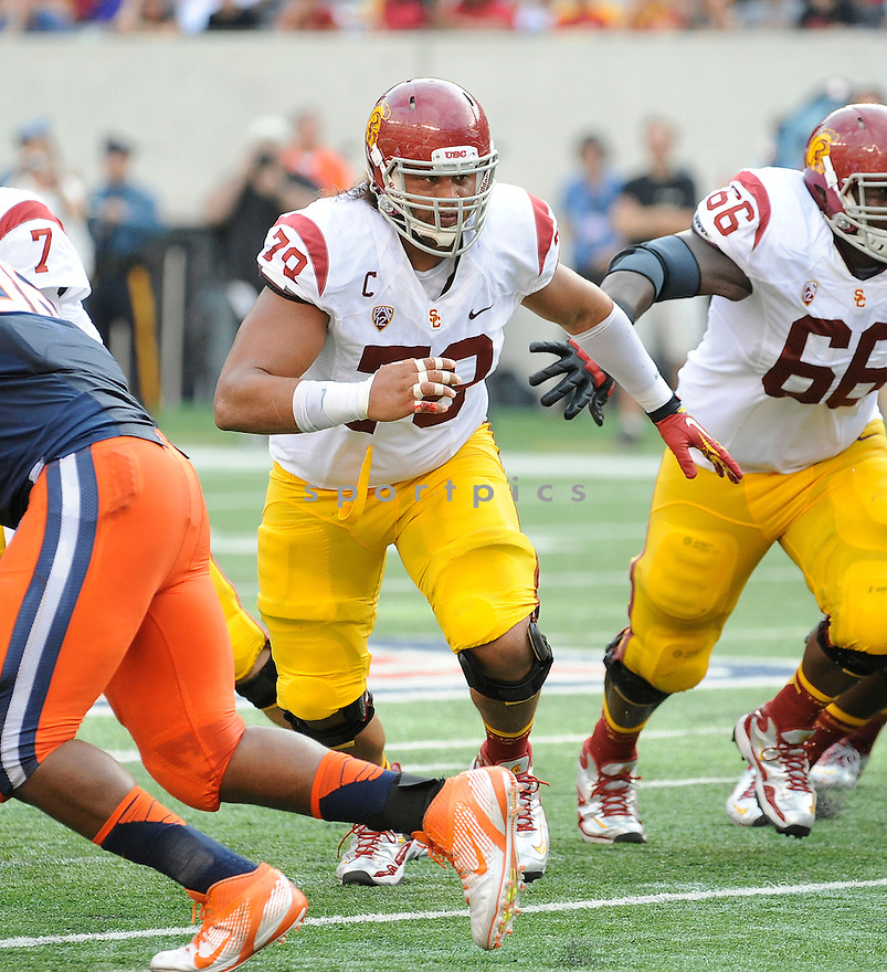 USC Trojans Khaled Holmes (78) in action during a game against the Syracuse Orange on September 8, 2012 at MetLife Stadium in East Rutherford, NJ. USC beat Syracuse 42-29.