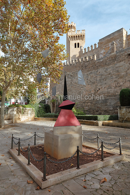 Mobile sculpture entitled Nancy, 1972, by Alexander Calder, 1898-1976, American sculptor, in the Jardins de síHort del Rei, just below the Palau de líAlmudaina in Passeig Antoni Maura, Palma de Mallorca, Majorca, Balearic Islands, Spain. The sculpture was originally part of an exhibition of Calderís work in Sala Pelaires (a Palma gallery) in 1972, and his friend Joan Miro arranged for it to be donated to the city. Picture by Manuel Cohen