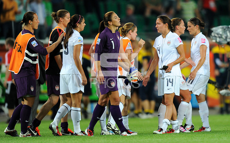 Hope Solo (C) of team USA reacts during the FIFA Women's World Cup at the FIFA Stadium in Wolfsburg, Germany on July 6thd, 2011.