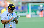 The Hague, Netherlands, June 07: Head coach Ric Charlesworth of Australia takes some notes during the field hockey group match (Men - Group A) between England and Australia on June 7, 2014 during the World Cup 2014 at Kyocera Stadium in The Hague, Netherlands. Final score 0-5 (0-4) (Photo by Dirk Markgraf / www.265-images.com) *** Local caption ***