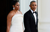 United States President Obama and the First Lady Michelle Obama await the arrival of Prime Minister Lee Hsien Loong at the North Portico of the White House in Washington, DC on Tuesday, August 2, 2016. <br /> Credit: Leigh Vogel / Pool via CNP
