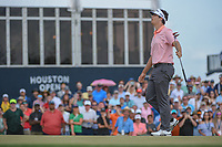Beau Hossler (USA) reacts to barely missing his putt on 18 during round 4 of the Houston Open, Golf Club of Houston, Houston, Texas. 4/1/2018.<br /> Picture: Golffile | Ken Murray<br /> <br /> <br /> All photo usage must carry mandatory copyright credit (&copy; Golffile | Ken Murray)