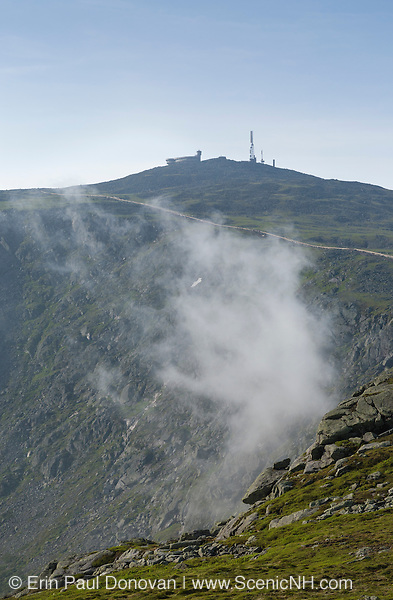 Appalachian Trail - Mount Washington engulfed in fog from Mount Clay in the White Mountains, New Hampshire USA during the summer months.