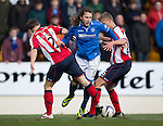 St Johnstone v Kilmarnock.....09.11.13     SPFL<br /> Stevie May is blocked by Jeroen Tesselaar and Mark O'Hara<br /> Picture by Graeme Hart.<br /> Copyright Perthshire Picture Agency<br /> Tel: 01738 623350  Mobile: 07990 594431
