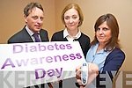 Dr Gary Stack, Norma Sheehan, Killarney Lions Club and nurse Chris Rainsford, pictured at the launch of the Diabetes Awareness Day, which will be held in the Killarney Outlet centre on Saturday.........