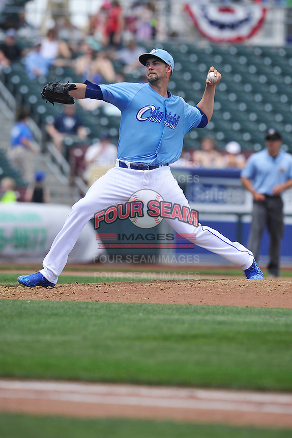 Omaha Storm Chasers Mike Minor (46) throws during the game against the El Paso Chihuahuas at Werner Park on May 30, 2016 in Omaha, Nebraska.  El Paso won 12-0.  (Dennis Hubbard/Four Seam Images)