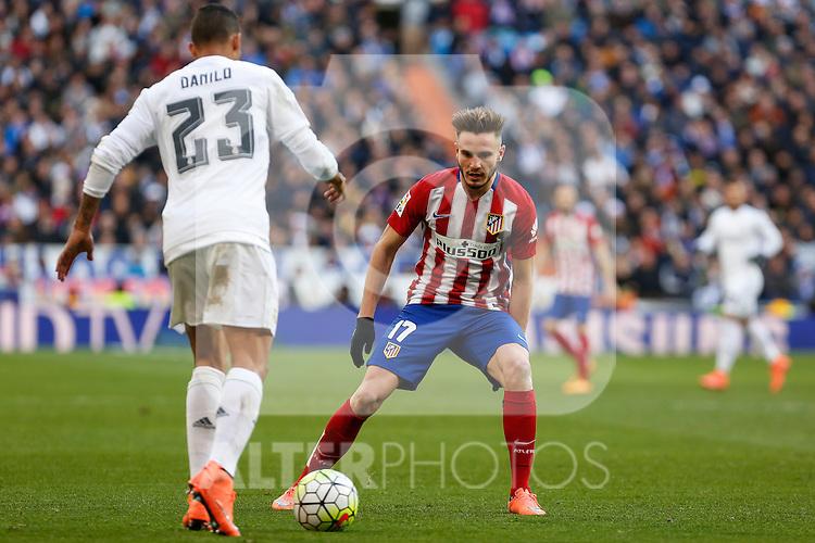 Atletico de Madrid´s Saul Niguez during 2015/16 La Liga match between Real Madrid and Atletico de Madrid at Santiago Bernabeu stadium in Madrid, Spain. February 27, 2016. (ALTERPHOTOS/Victor Blanco)