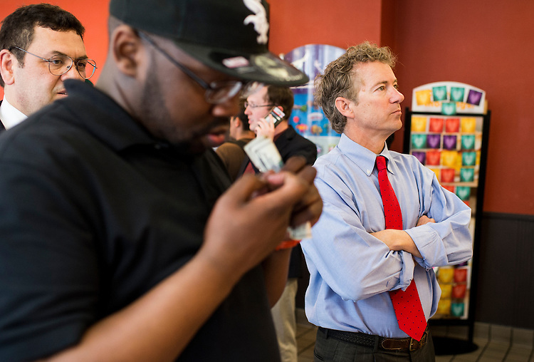 UNITED STATES - MAY 18: Presidential candidate Sen. Rand Paul, R-Ky., stands in line to order at McDonald's in the Center City area of Philadelphia on Monday, May, 18, 2015, following his speech outside of Independence Hall. (Photo By Bill Clark/CQ Roll Call)