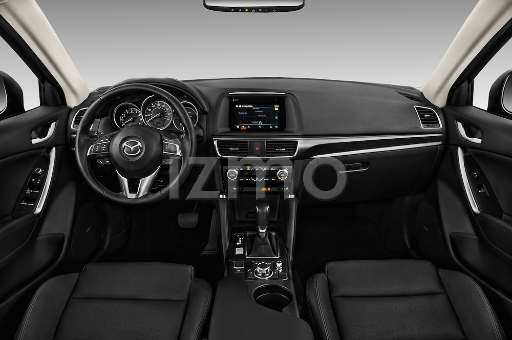 Stock photo of straight dashboard view of 2016 Mazda CX-5 Grand-Touring-auto 5 Door SUV Dashboard